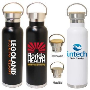 22 Oz. Double Wall Stainless Steel Vacuum Insulated Bottle w/ metal or Bamboo Lid